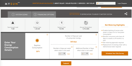 MYSUN launches Rooftop solar calculator for system sizing and savings