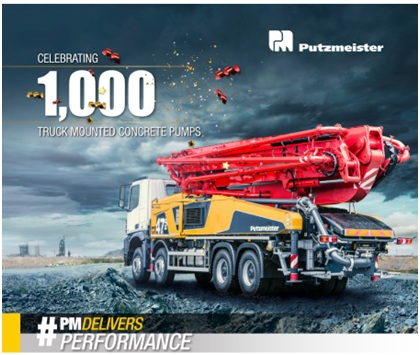 Putzmeister delivers 1,000th truck mounted concrete boom pump