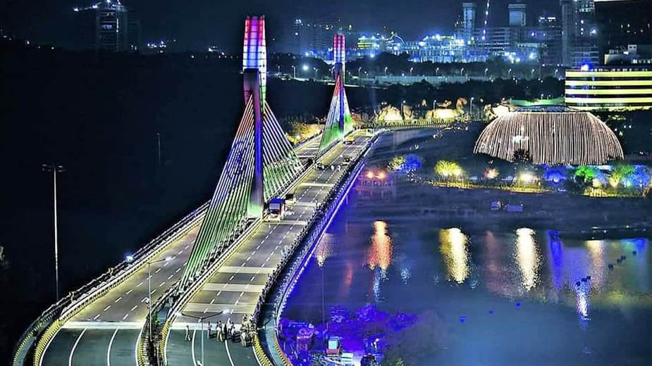 L&T built iconic Durgam Cheruvu Cable Stay Bridge dedicated to the people of Hyderbad