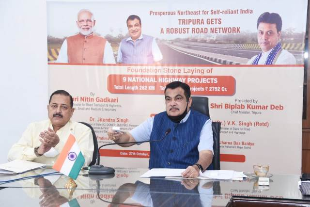 Nitin Gadkari lays foundation stones of 9 National Highway projects in Tripura