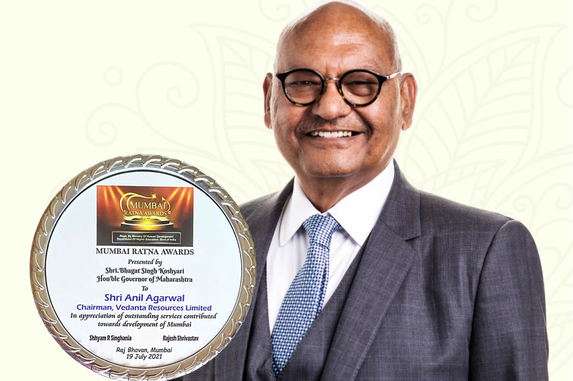 Vedanta Chairman Anil Agarwal conferred with Mumbai Ratna Award for outstanding services towards the development of the city